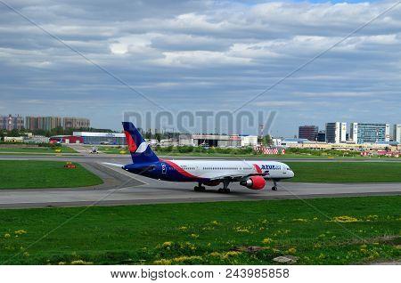 St Petersburg, Russia - May 23,2015. Vq-bqa Azur Air Airline Boeing 757-2q8 Airplane Prepares For Ta