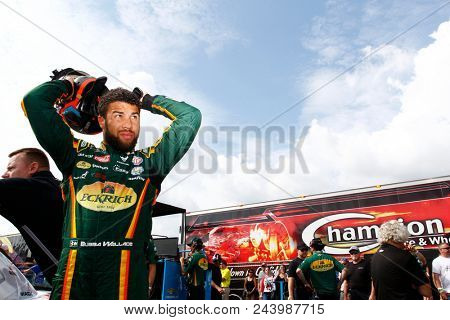 June 01, 2018 - Long Pond, Pennsylvania, USA: Darrell Wallace, Jr (43) hangs out on pit road prior to qualifying for the Pocono 400 at Pocono Raceway in Long Pond, Pennsylvania.
