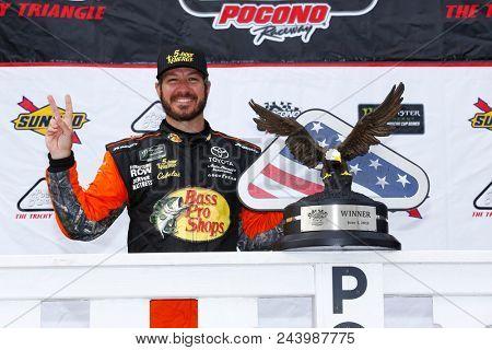 June 03, 2018 - Long Pond, Pennsylvania, USA: Martin Truex, Jr (78) wins the Pocono 400 at Pocono Raceway in Long Pond, Pennsylvania.