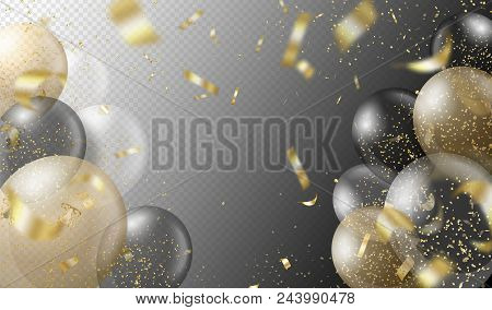 Transparent Realistic Balloons And Golden Confetti Isolated On Transparent Background. Party Decorat