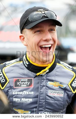 June 02, 2018 - Long Pond, Pennsylvania, USA: John Hunter Nemechek (42) hangs out on pit road before qualifying for the Pocono Green 250 at Pocono Raceway in Long Pond, Pennsylvania.