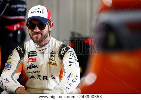 June 01, 2018 - Long Pond, Pennsylvania, USA: Daniel Suarez (19) hangs out in the garage during practice for the Pocono 400 at Pocono Raceway in Long Pond, Pennsylvania.