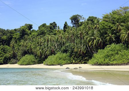 Tropical Beach Of Coibita, Aka Rancheria. Coiba National Park, Panama