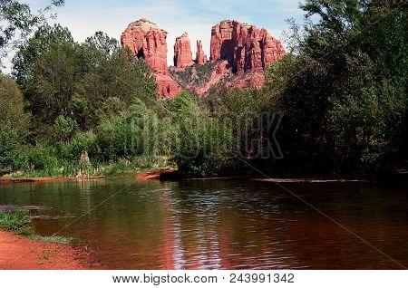 Cathedral Rock And Oak Creek Sedona Arizona In The Morning Light