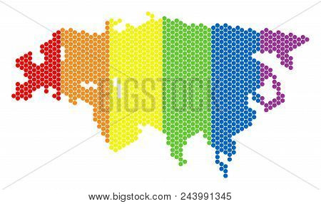 A Dotted Lgbt Europe And Asia Map For Lesbians, Gays, Bisexuals, And Transgenders. Color Vector Coll