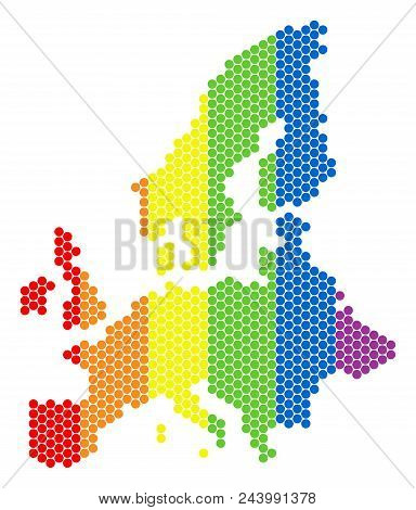 A Dotted Lgbt European Union Map For Lesbians, Gays, Bisexuals, And Transgenders. Multicolored Vecto