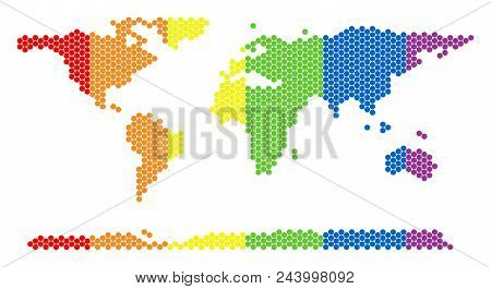A Dotted Lgbt World Continent Map For Lesbians, Gays, Bisexuals, And Transgenders. Colorful Vector C