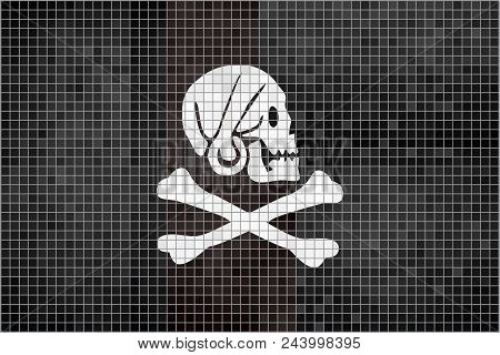 Pirate Flag - Illustration,  Henry Every Pirate Mosaic Textured Background,  Grunge Mosaic Buccaneer