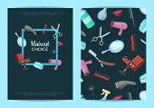 Vector card or flyer templates set for with hairdresser or barber cartoon elements and place for text illustration poster