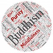 Conceptual buddhism, meditation, enlightenment, karma round circle red word cloud isolated background. Collage of mindfulness, reincarnation, nirvana, emptiness, bodhicitta, happiness concept poster