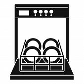 Open dishwasher icon. Simple illustration of open dishwasher vector icon for web design isolated on white background poster
