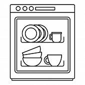 Dishwasher icon. Outline illustration of dishwasher vector icon for web design isolated on white background poster