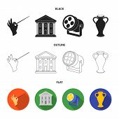 Conductor baton, theater building, searchlight, amphora.Theatre set collection icons in black, flat, outline style vector symbol stock illustration . poster