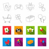 Stroller, windmill, lego, balloons.Toys set collection icons in outline, flat style vector symbol stock illustration . poster