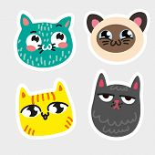 Four isolated cat emoji framed thick white line Blue cat in speckles striped yellow kitty Siamese smiley pussy melancholy gray moggy Vector isolated icon Hand draw style cats for emblem button avatar. poster