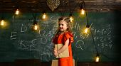 Talented child usually needs coaching. Educational concept - schoolchildren in a classroom. Final exam test in university students study for examination in classroom. poster