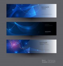 Illustration Banners Set, Abstract Molecules With Circles, Lines, Geometric, Polygon. Vector Design