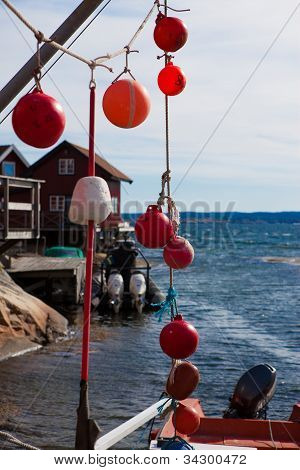 Fishing Equipment Hanging In A Small Fishing Village