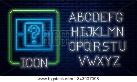 Glowing Neon Mystery Box Or Random Loot Box For Games Icon Isolated On Brick Wall Background. Questi