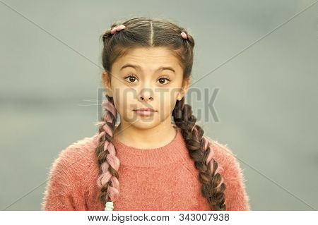Girl With Braided Hair Style With Pink Kanekalon. Hairdresser Salon. Fancy Look. Braided Cutie. Litt