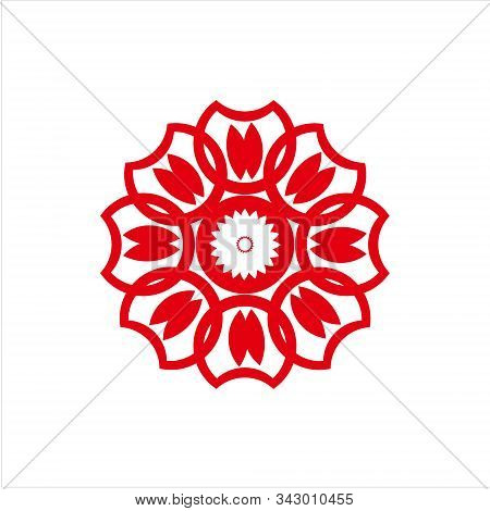 Chinese Flowers, Chinese Flowers With Awhite Bacrkground. Chinese Flowers White Line. Icon Flowers I