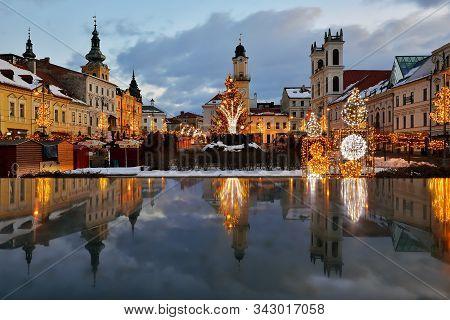 Banska Bystrica, Slovakia - December 23, 2017: Christmas Square In Banska Bystrica With Christmas Tr