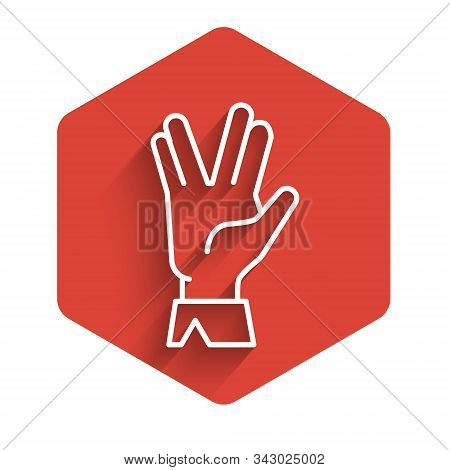 White Line Vulcan Salute Icon Isolated With Long Shadow. Hand With Vulcan Greet. Spock Symbol. Red H