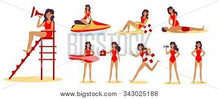 Set Of Beach Lifeguard Girl On The Beach In Different Action Situations. Vector Illustration In Flat