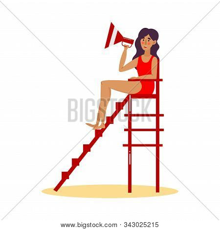 Cute Lifeguard Girl In Red Swimsuit Sitting On Lookout Tower With The Megaphone. Vector Illustration