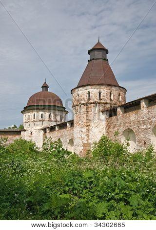 Towers and walls of Borisoglebsky Orthodox monastery