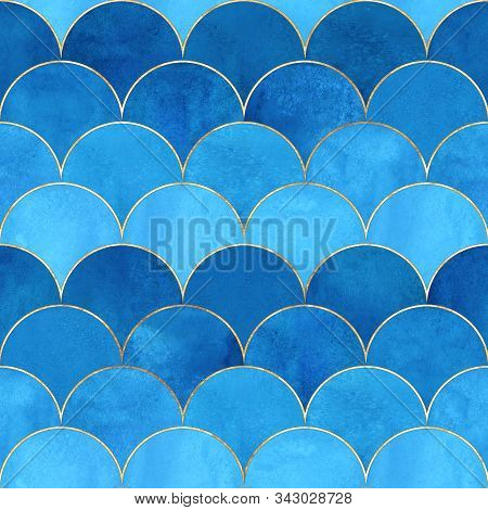 Mermaid Fish Scale Wave Japanese Magic Seamless Pattern. Watercolor Hand Drawn Blue Color Background