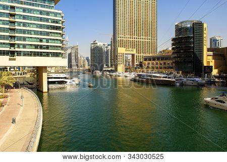 Dubai / Uae - November 7, 2019: Dubai Marina Touristic District With Marina Mall, Skyscrapers, Side
