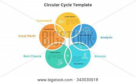 Ring-like Venn Diagram With Five Intersected Colorful Circular Elements. Modern Infographic Design T