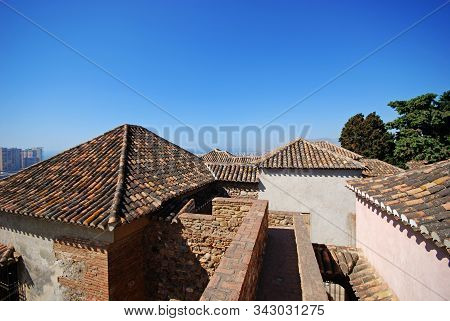 Malaga, Spain - July 7, 2008 - View Over The Torre De Maldonado Rooftops Of The Nasrid Palace At The