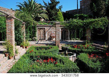 Malaga, Spain - July 7, 2008 - Supplier Courtyard Gardens At Malaga Castle, Malaga, Malaga Province,