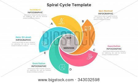Round Chart With 5 Colorful Spiral Elements. Concept Of Five Services Provided By Company. Flat Info
