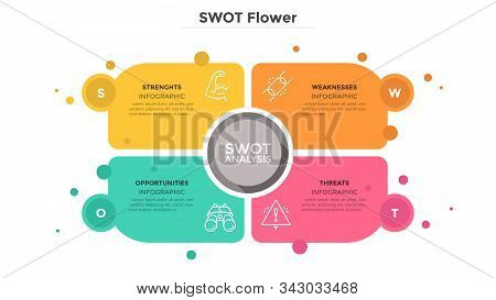 Swot Flower Diagram Consisted Of 4 Colorful Elements Or Cards. Advantages And Disadvantages Of Compa