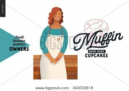 Muffins, Home Made Cupcakes -small Business Owners Graphics -owner. Modern Flat Vector Concept Illus