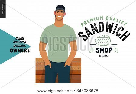 Sandvich Shop -small Business Owners Graphics -owner. Modern Flat Vector Concept Illustrations - You