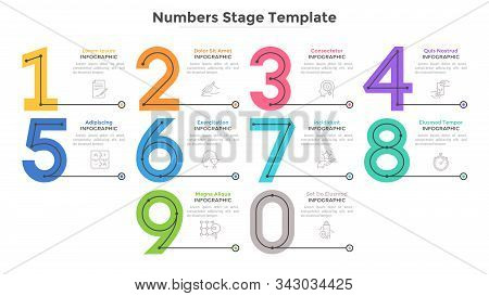 Colorful Numbers, Figures Or Numerical Symbols And Place For Text Or Description. Modern Infographic