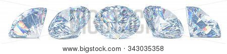 Set Of Cut Diamonds With Shadow And Glowing Lens Flares. 3d Rendering Illustration Of Collection Of