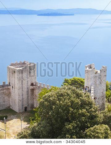 Lake Trasimeno From The Fortress At Castiglione Del Lago
