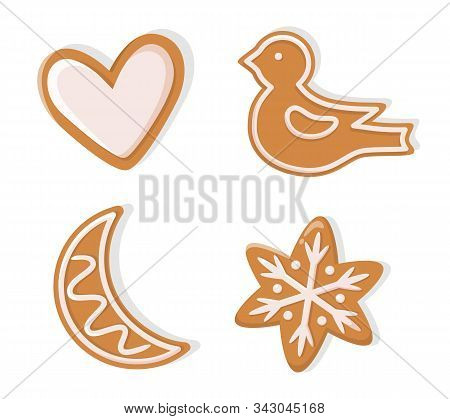 Winter Holiday Shapes Of Gingerbread Vector. Christmas Cookie Figurines Of Heart And Bird, Moon And