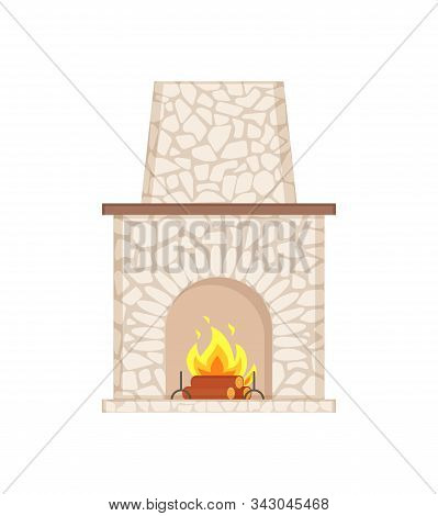 Fireplace With Long Chimney Paved In Stone Isolated Icon Vector. Shelf For Items, Rounded Shape Of S