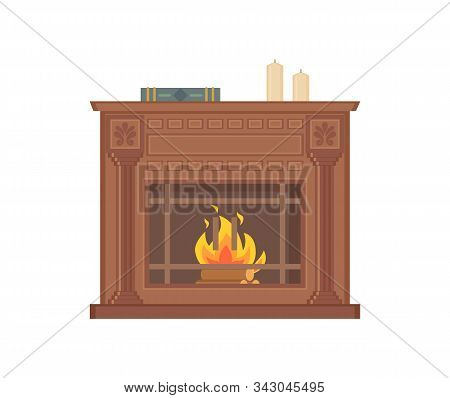 Fireplace With Decorative Vases And Ornaments Isolated Icon Vector. Wooden Material In Fire, Burning
