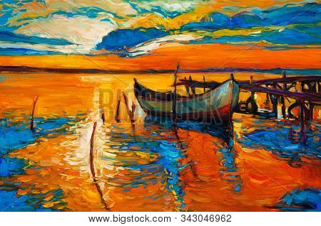 Original Oil Painting Of Boats And Jetty(pier) On Canvas.rich Golden Sunset Over Ocean.modern Impres