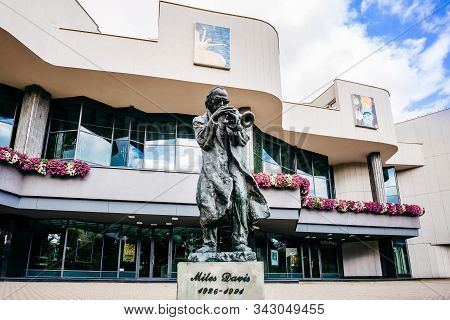 Kielce, Swietokrzyskie, Poland, June 2016 A Statue Of Miles Davies, Jazz Trumpeter, Playing On Trump