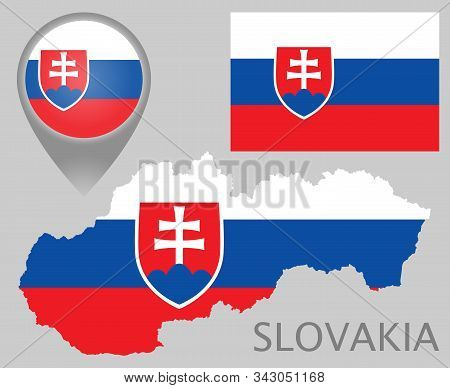 Colorful Flag, Map Pointer And Map Of Slovakia In The Colors Of The Slovakian Flag. High Detail. Vec