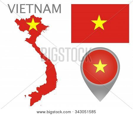 Colorful Flag, Map Pointer And Map Of Vietnam In The Colors Of The Vietnamese Flag. High Detail. Vec