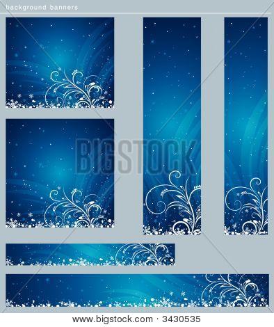 Blue Christmas Banner, Vektor